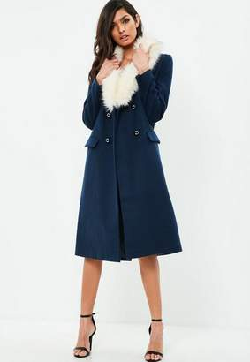 Missguided Navy Premium Long Military Coat
