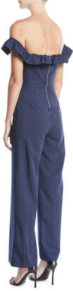 Tahari ASL Dolly Off-The-Shoulder Striped Jumpsuit