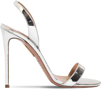 Aquazzura 105mm So Nude Mirrored Leather Sandals