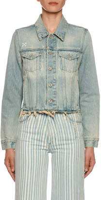 Off-White Off White Raw-Trim Bleached Denim Jacket