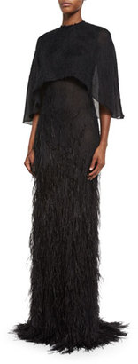 Jason Wu Feather-Embellished Cape Gown, Black $5,795 thestylecure.com
