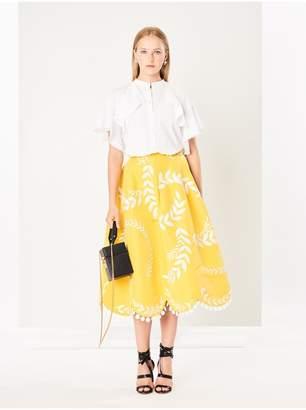 Oscar de la Renta Fern-Embroidered Silk-Faille Skirt