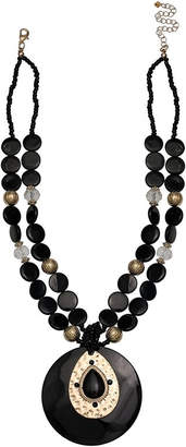 MIXIT Mixit Black Shell Womens Round Pendant Necklace