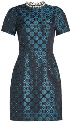 Mary Katrantzou Jacquard Dress with Faux Pearl Embellishment