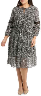 Dress 3/4 Sleeve Tunnel Waist Print