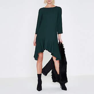 River Island Womens Dark Green three quarter sleeve swing dress
