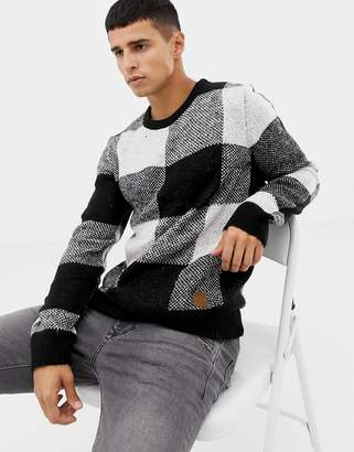 Jack and Jones Originals Knitted Sweater In Mixed Check Knit