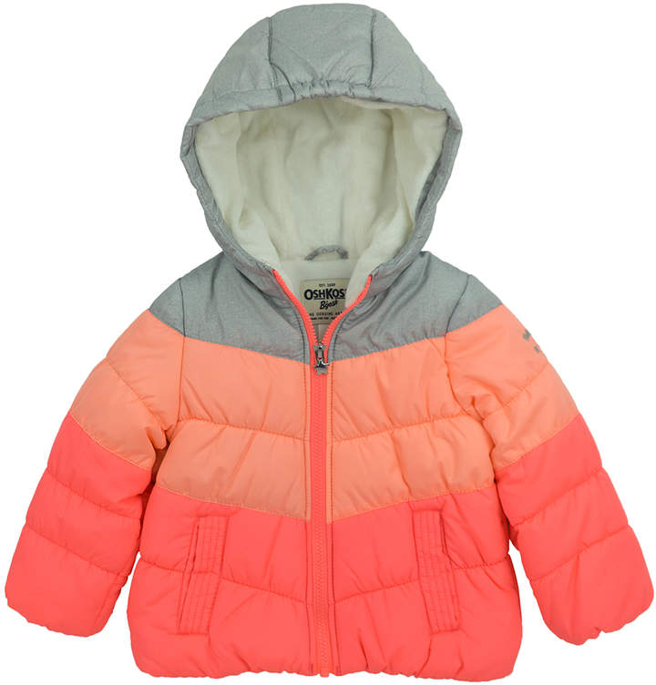 Coral, Peach & Heather Gray Bubble Color Block Puffer Coat - Infant, Toddler & Girls