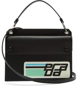 Prada Logo Patch Saffiano Leather Cross Body Bag - Womens - Black Green