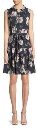 Rebecca Taylor Magnolia Floral-Print Button-Front Dress