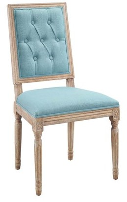 Linon Avalon Tufted Square Back Dining Chairs, Blue, Set of 2, Assembled