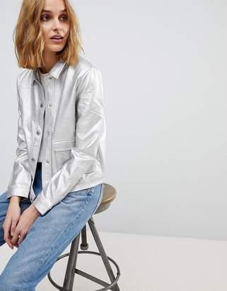 Rsum Resume Agnes Metallic Leather Look Trucker Jacket