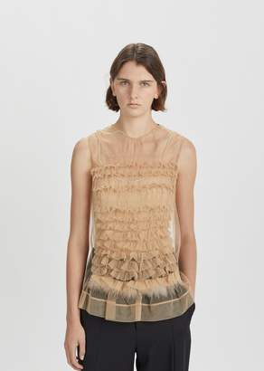 Simone Rocha Tulle Frilled Top Tobacco