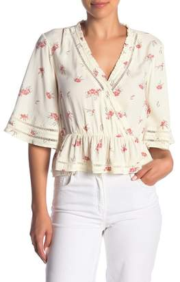 Melrose and Market Ruffle Trim Floral Blouse