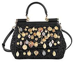 Dolce & Gabbana Women's Small Sicily Charm-Embellished Raffia Top Handle Bag