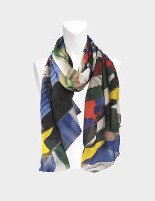 Christian Lacroix 70x180 Geisha Scarf in Blue Cotton and Silk