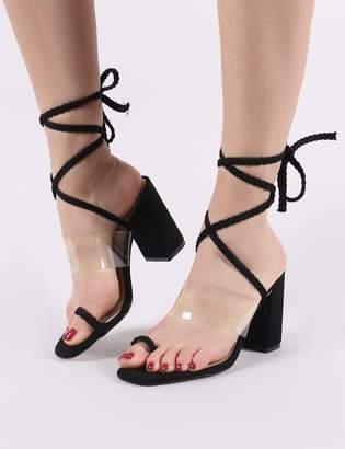 2410429f957 Public Desire Mia Lace Up Block Heeled Sandals Faux Suede