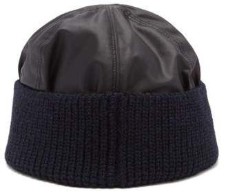 Lanvin Ribbed Knit Wool And Nylon Beanie Hat - Mens - Navy