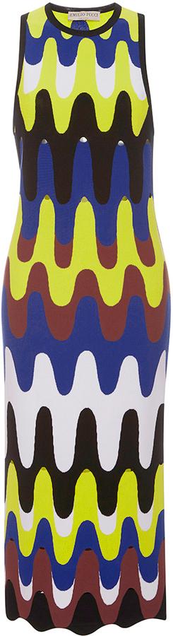 Emilio Pucci Sleeveless Retro Print Sheath Midi Dress