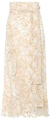 Ganni Flynn stretch-lace wrap skirt