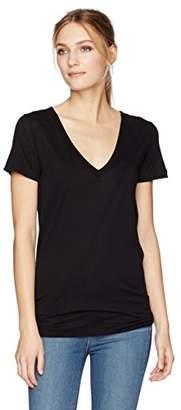 Enza Costa Women's Tissue Jersey Loose Short Sleeve V-Neck