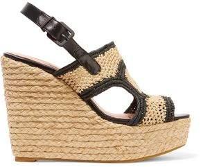 Clergerie Raffia Wedge Sandals