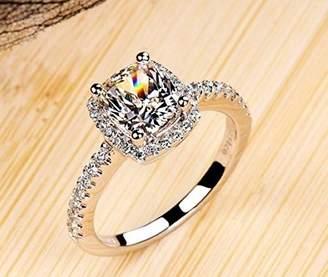 Ring Lady 18k White Gold Gp AAA Zircon Swarovski Crystal Bridal Engagement Wedding R24a (6.25)
