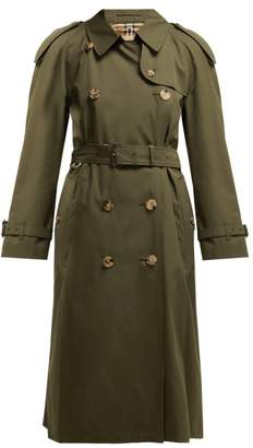Burberry Westminster Double Breasted Gabardine Trench Coat - Womens - Dark Green