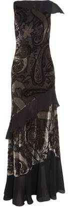 Etro Ruffled Chiffon-Paneled Devoré-Satin Gown