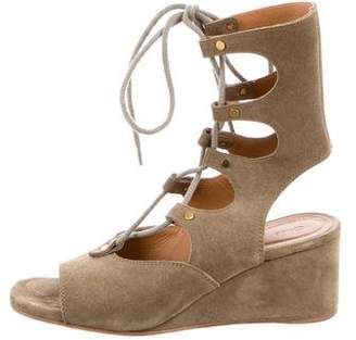 Chloé Suede Caged Wedges