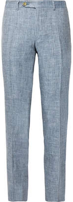 Dusty-Blue Kei Slim-Fit Tapered Melange Linen And Silk-Blend Suit Trousers