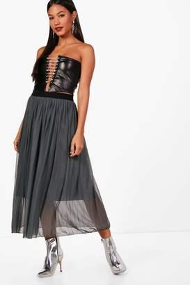 boohoo Boutique Tulle Pleated Midi Skirt