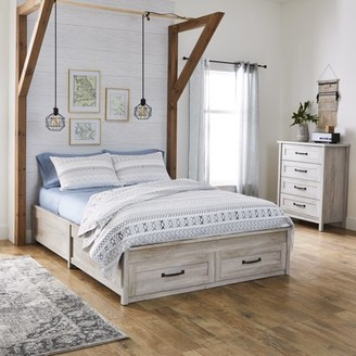dd09c7b60921 Better Homes & Gardens Modern Farmhouse Queen Platform Bed with Storage,  Rustic White Finish
