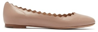 Chloé Lauren Scallop Edge Leather Ballet Flats - Womens - Nude