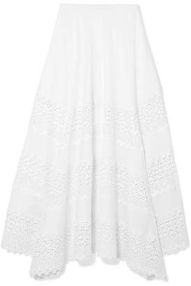 Charo Ruiz - Ula Crocheted Lace-paneled Cotton-blend Midi Skirt - White
