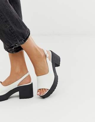 Asos Design DESIGN Steal chunky slingback mid heels in white