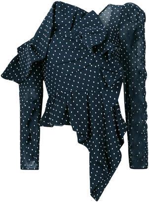 Self-Portrait asymmetric polka dot blouse