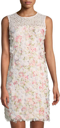 Karl Lagerfeld Paris Floral-Appliqué Sleeveless Sheath Dress