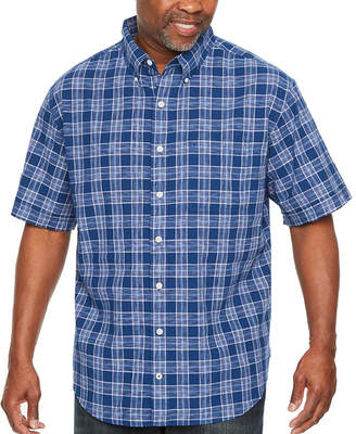Izod Saltwater Dockside Chambray Short Sleeve Plaid Button-Front Shirt-Big and Tall
