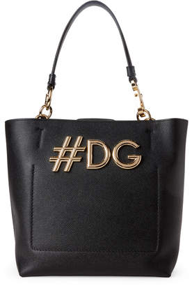 Dolce & Gabbana Black Beatrice Small Leather Shopping Tote