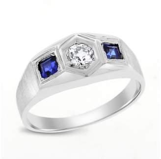 18K White Gold 0.80ct. Diamond & Sapphire Pinky Ring Size 8.0