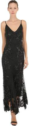 Beaded & Sequined Long Flared Dress