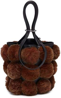 Alexander Wang 'Roxy' fur pompom mini leather bucket bag