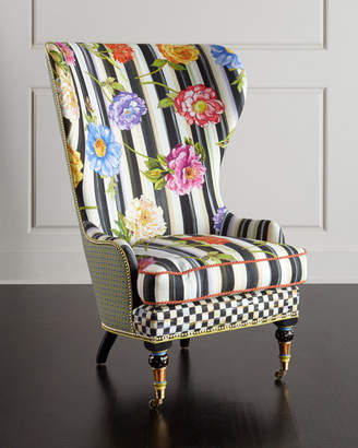 Mackenzie Childs Cutting Garden High-Back Wing Chair