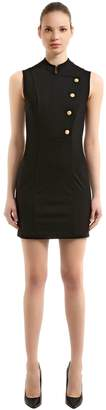 Pierre Balmain Stretch Jersey Mini Dress W/ Buttons