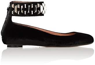 SAMUELE FAILLI Women's Peggy Velvet Ankle-Straps Flats