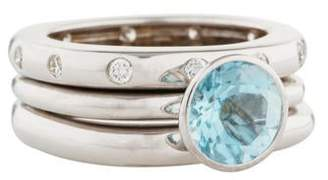 Ring Set of Three 18K Aquamarine & Diamond Stacking Rings
