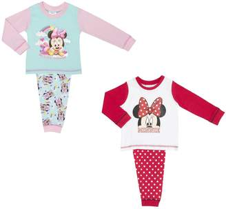 Disney 2 Pack Official Baby Girls Minnie Mouse Girls Pyj