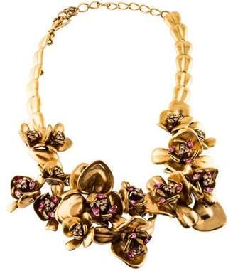 Oscar de la Renta Crystal Floral Collar Necklace