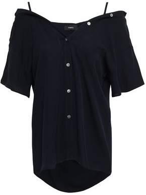 Theory Cold-shoulder Silk-crepe Shirt